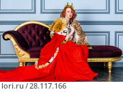Купить «Red-haired woman in red dress, cloak and with crown on head sits on couch holding lynx cub», фото № 28117166, снято 14 ноября 2015 г. (c) Losevsky Pavel / Фотобанк Лори
