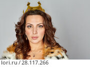 Купить «Portrait of woman in fur cloak and queen crown», фото № 28117266, снято 14 ноября 2015 г. (c) Losevsky Pavel / Фотобанк Лори