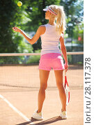 Купить «Slim woman prepares for serving on tennis playground outdoor, back view», фото № 28117378, снято 24 июня 2016 г. (c) Losevsky Pavel / Фотобанк Лори