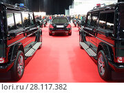Купить «MOSCOW - MAR 07, 2016: Garage of special function at exhibition Oldtimer-Gallery in Sokolniki Exhibition Center. It is only one in Russia exhibition of vintage cars and technical antiques», фото № 28117382, снято 7 марта 2016 г. (c) Losevsky Pavel / Фотобанк Лори