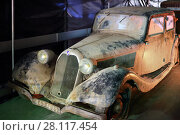 Купить «MOSCOW - MAR 07, 2016: Retro car Talbot on exhibition Oldtimer-Gallery in Sokolniki Exhibition Center. Text - dream of 55 year old man. It is only one in Russia exhibition of vintage cars and technical antiques», фото № 28117454, снято 7 марта 2016 г. (c) Losevsky Pavel / Фотобанк Лори