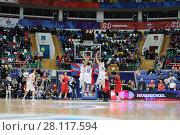 Купить «MOSCOW - JAN 27, 2017: Hoop attack during basketball game CSKA (Moscow) - Anadolu Efes (Istanbul) in Megasport stadium», фото № 28117594, снято 27 января 2017 г. (c) Losevsky Pavel / Фотобанк Лори