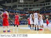Купить «MOSCOW - JAN 27, 2017: Break during basketball game CSKA (Moscow) - Anadolu Efes (Istanbul) in Megasport stadium», фото № 28117598, снято 27 января 2017 г. (c) Losevsky Pavel / Фотобанк Лори