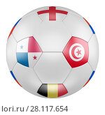 3D soccer ball with group G flags of Belgium, Panama, Tunisia, England on white background. Match between Panama and Tunisia. Стоковая иллюстрация, иллюстратор LVV / Фотобанк Лори