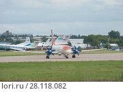 Купить «Новый российский самолет Ил-114 (бортовой номер 91003) на Международном авиационно-космический салоне МАКС-2017», фото № 28118082, снято 17 июля 2017 г. (c) Малышев Андрей / Фотобанк Лори