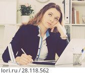 Купить «Young and smiling businesswoman in jacket», фото № 28118562, снято 11 апреля 2017 г. (c) Яков Филимонов / Фотобанк Лори