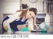Купить «Cheerful female cleaning furniture», фото № 28118570, снято 11 апреля 2017 г. (c) Яков Филимонов / Фотобанк Лори