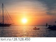Купить «Vessels at Cala Saona in Formentera during sunset. Balearic Islands. Spain», фото № 28128450, снято 7 декабря 2019 г. (c) easy Fotostock / Фотобанк Лори