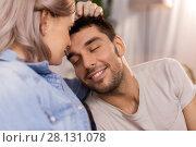 Купить «close up of happy couple», фото № 28131078, снято 4 ноября 2017 г. (c) Syda Productions / Фотобанк Лори