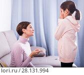 Купить «Mother reprimands her daughter», фото № 28131994, снято 26 марта 2019 г. (c) Яков Филимонов / Фотобанк Лори