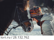 Купить «Winter teenage girl jump horse ride jumping», фото № 28132762, снято 26 января 2014 г. (c) Julia Shepeleva / Фотобанк Лори