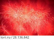 Купить «Spectacular fireworks show light up the sky. New year celebration.», фото № 28136842, снято 5 июля 2020 г. (c) easy Fotostock / Фотобанк Лори