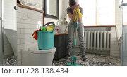 Купить «Woman is tired to cleaning tile in toilet», видеоролик № 28138434, снято 7 марта 2018 г. (c) Ekaterina Demidova / Фотобанк Лори