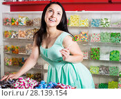 Portrait of sexy smiling woman with lollipop. Стоковое фото, фотограф Яков Филимонов / Фотобанк Лори