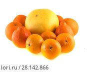 Купить «Цитрусовые фрукты, изолированно на белом фоне», фото № 28142866, снято 1 января 2014 г. (c) Литвяк Игорь / Фотобанк Лори