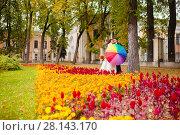 Newlyweds in the park with big umbrella. Стоковое фото, фотограф Чебеляев Геннадий / Фотобанк Лори