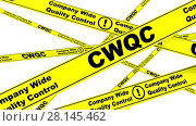 Купить «CWQC. Company Wide Quality Control. Yellow warning tapes», видеоролик № 28145462, снято 30 января 2018 г. (c) WalDeMarus / Фотобанк Лори