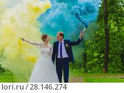 Купить «Bride and groom with colorful smoke bombs», фото № 28146274, снято 22 июля 2017 г. (c) Чебеляев Геннадий / Фотобанк Лори