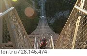 Купить «Unique SKYPARK AJ Hackett Sochi, Ahshtyrskaya gorge in the Mzymta river valley», видеоролик № 28146474, снято 3 ноября 2017 г. (c) Ирина Мойсеева / Фотобанк Лори