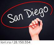 Купить «Man Hand writing San Diego with black marker on visual screen», фото № 28150554, снято 22 ноября 2018 г. (c) easy Fotostock / Фотобанк Лори