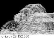 Купить «Gears, shafts and bearings. X-ray render», иллюстрация № 28152550 (c) Кирилл Черезов / Фотобанк Лори
