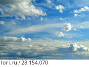 Купить «Sky landscape of cloudy sky. Blue sky background with white dramatic clouds», фото № 28154070, снято 18 сентября 2009 г. (c) Зезелина Марина / Фотобанк Лори