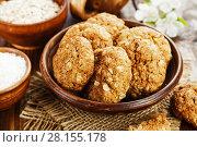 Купить «Oatmeal cookies with coconut», фото № 28155178, снято 29 ноября 2017 г. (c) Надежда Мишкова / Фотобанк Лори