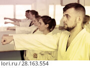 Купить «Adults trying new martial moves at karate class», фото № 28163554, снято 8 апреля 2017 г. (c) Яков Филимонов / Фотобанк Лори
