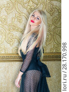 Купить «Beautiful blonde in transparent black lace dress poses near gilted wall in room», фото № 28170998, снято 20 ноября 2015 г. (c) Losevsky Pavel / Фотобанк Лори
