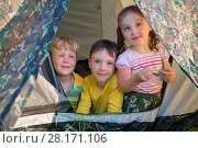 Купить «Two smiling little boys and girl are in tent outside at summer day», фото № 28171106, снято 2 июля 2016 г. (c) Losevsky Pavel / Фотобанк Лори