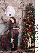 Купить «Woman in transparent dress poses near Christmas fir tree and fireplace in studio», фото № 28171202, снято 27 ноября 2015 г. (c) Losevsky Pavel / Фотобанк Лори