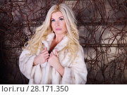 Pretty woman in white fur coat poses near wall with many branches in studio. Стоковое фото, фотограф Losevsky Pavel / Фотобанк Лори