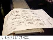 Купить «Fingerprints on paper, text translate - dactyloscopic registration, pinky, Control prints, big, nameless, registration», фото № 28171622, снято 22 сентября 2016 г. (c) Losevsky Pavel / Фотобанк Лори