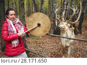 Купить «Woman in red with gong and beautiful deer in yellow autumn forest», фото № 28171650, снято 18 октября 2015 г. (c) Losevsky Pavel / Фотобанк Лори