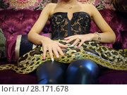 Купить «Young woman in leather pants sits on velvet couch with big snake, noface», фото № 28171678, снято 18 июля 2016 г. (c) Losevsky Pavel / Фотобанк Лори