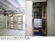 Купить «Telecom equipment with many cables and switches in modern communication center», фото № 28171726, снято 25 апреля 2016 г. (c) Losevsky Pavel / Фотобанк Лори