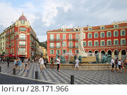 Купить «NICE, FREANCE - JUL 24, 2016: Caisse d Epargne Cote d Azur on Place Massena, Nice - one of Europe most popular holiday resorts», фото № 28171966, снято 24 июля 2016 г. (c) Losevsky Pavel / Фотобанк Лори