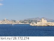 Купить «Boats sail near Chateau IF fortress on island and coastal city at summer, Marseille, France», фото № 28172274, снято 31 июля 2016 г. (c) Losevsky Pavel / Фотобанк Лори