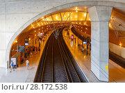 Купить «MONTE CARLO, MONACO - AUG 2, 2016: Double-track rock station Monaco - Monte Carlo», фото № 28172538, снято 2 августа 2016 г. (c) Losevsky Pavel / Фотобанк Лори