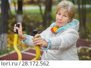 Купить «Elderly woman is engages in sport simulator in autumn park with fallen leaves», фото № 28172562, снято 6 октября 2016 г. (c) Losevsky Pavel / Фотобанк Лори