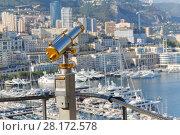 Купить «Binoculars on observation deck of palace Grimaldi overlooking beach and bay of La Condamine», фото № 28172578, снято 3 августа 2016 г. (c) Losevsky Pavel / Фотобанк Лори
