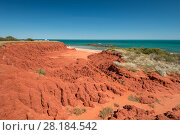 Купить «Ochre-coloured earth and sandstone cliffs with white sands beach Dampier Peninsula,  Broome, Kimberley, Western Australia. July 2016.», фото № 28184542, снято 24 мая 2018 г. (c) Nature Picture Library / Фотобанк Лори