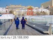 """Купить «""""Парящий мост"""" в парке """"Зарядье"""" зимой, Москва», фото № 28188890, снято 27 февраля 2018 г. (c) Natalya Sidorova / Фотобанк Лори"""