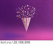 Купить «birthday hat with confetti on paper background», фото № 28188898, снято 3 марта 2018 г. (c) Майя Крученкова / Фотобанк Лори