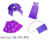 Купить «collage of fashionable lilac-lilac-violet summer-spring female clothes and accessories isolated on white background. View from above.», фото № 28191454, снято 23 марта 2018 г. (c) Tetiana Chugunova / Фотобанк Лори