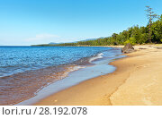 Купить «Lake Baikal in the summer. Beautiful sandy beaches on the east coast in the sunny afternoon», фото № 28192078, снято 27 августа 2016 г. (c) Виктория Катьянова / Фотобанк Лори