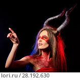 Купить «Mad satan woman aggressive cry in hell . Witch reincarnation creature.», фото № 28192630, снято 23 марта 2017 г. (c) Gennadiy Poznyakov / Фотобанк Лори