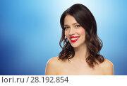 Купить «beautiful smiling young woman with red lipstick», фото № 28192854, снято 5 января 2018 г. (c) Syda Productions / Фотобанк Лори