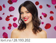 Купить «beautiful smiling young woman with red lipstick», фото № 28193202, снято 5 января 2018 г. (c) Syda Productions / Фотобанк Лори