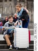 Купить «Young couple with a map», фото № 28194070, снято 18 октября 2018 г. (c) Яков Филимонов / Фотобанк Лори